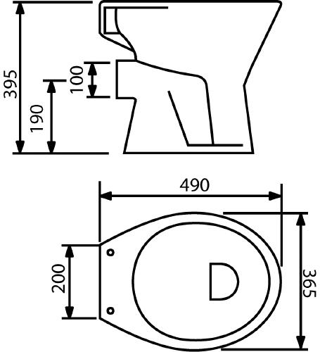 Thielsch Badkeramik Flachspüler Universal WC