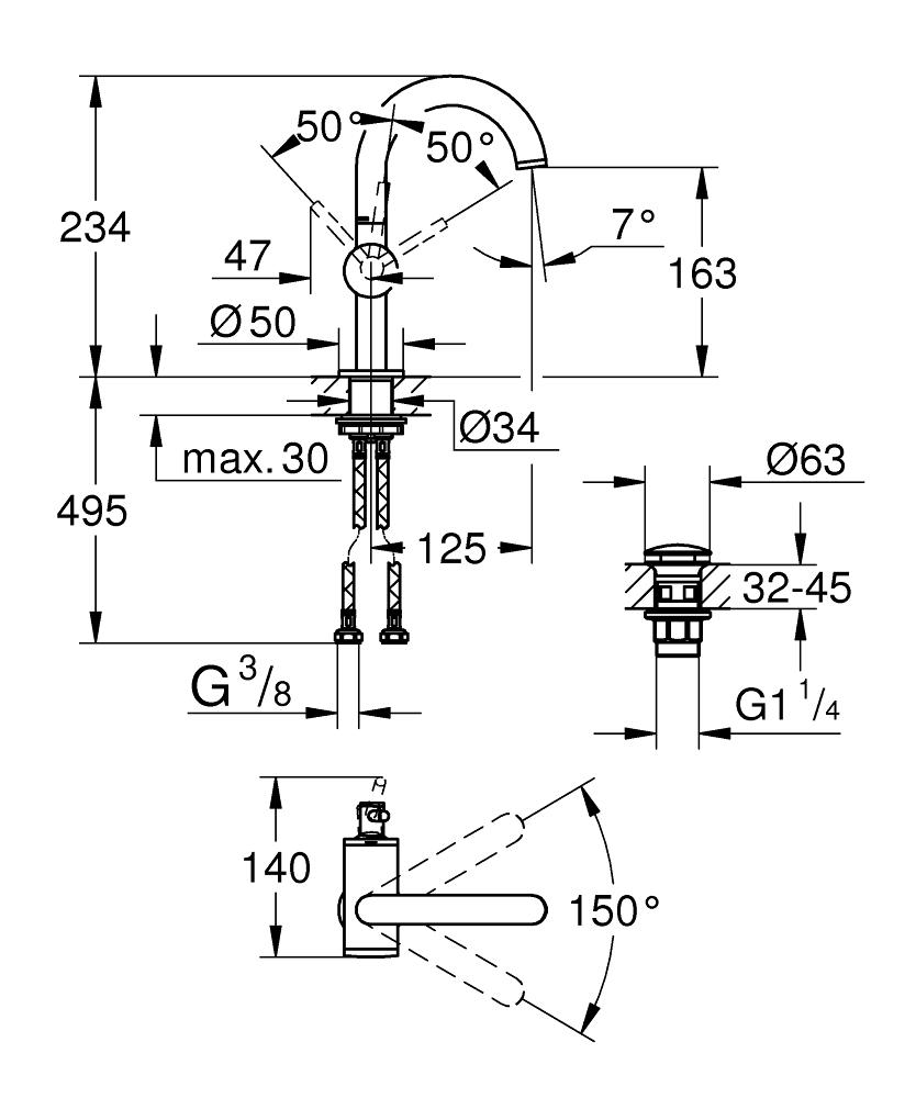 GROHE Atrio Einhand-Waschtischbatterie M-Size Supersteel