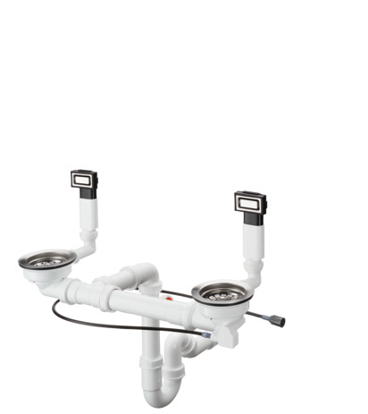 HG Select Automatische Ab- und Überlaufgarnitur für Doppelbecken