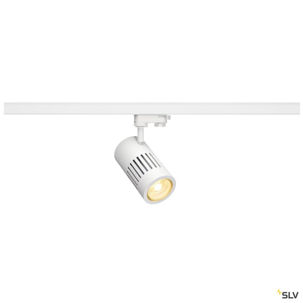 STRUCTEC, Spot für Hochvolt-Stromschiene 3Phasen, LED, 3000K, rund, weiß, 36°, 30W, inkl. 3Phasen-Adapter