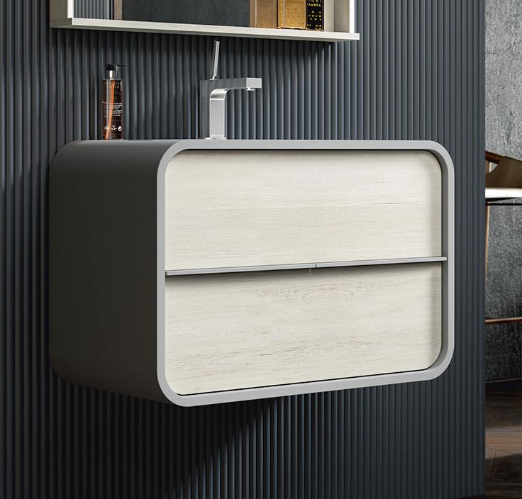 Thielsch Badmöbel Ovalo 80 inkl. Waschtisch Weiß Mattlackiert, Eiche Pegasus