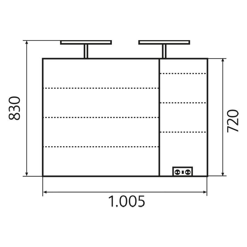HSK Alu-Spiegelschrank ASP 300 LED - 1050x750 170 mm