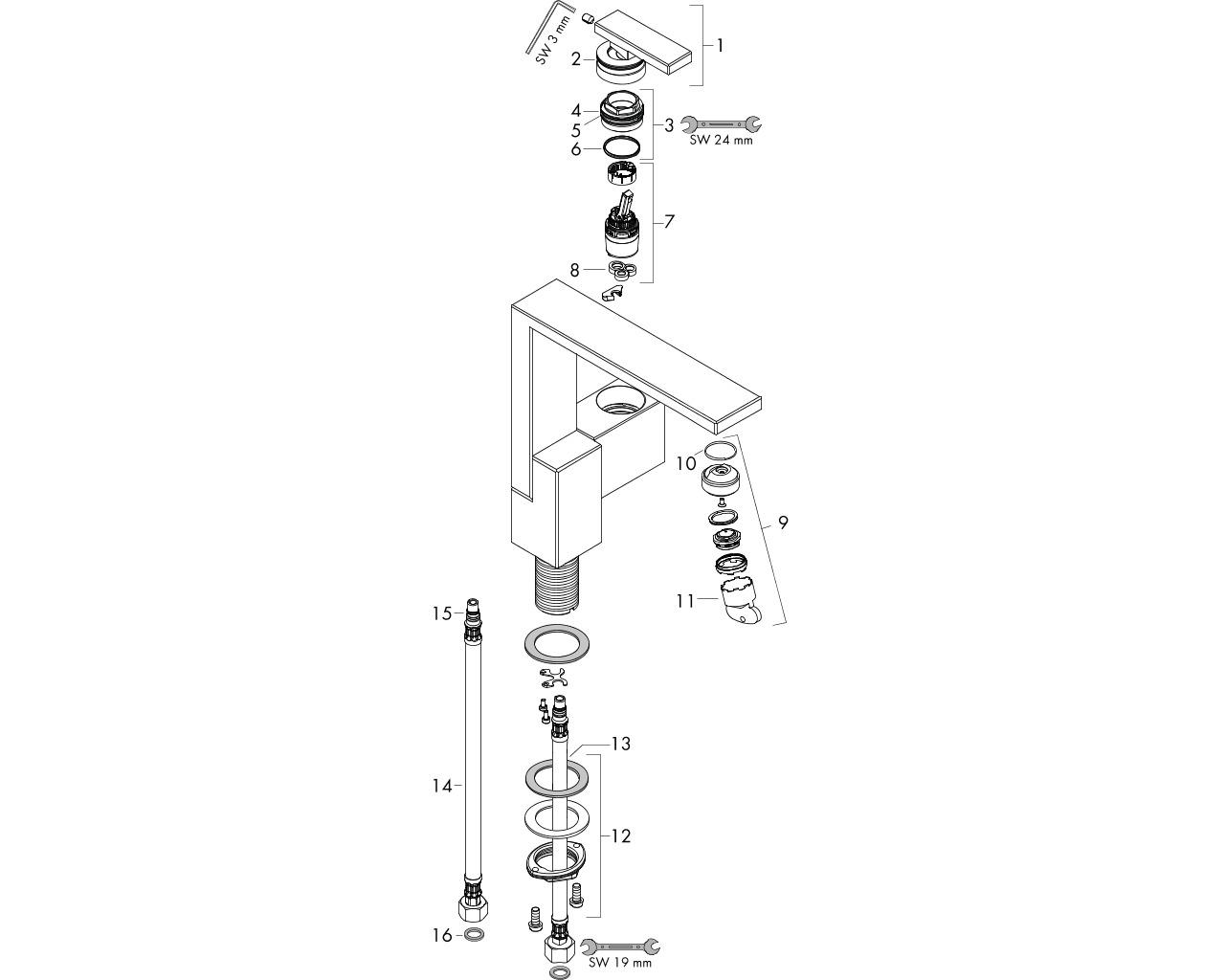 HG Waschtischmischer 190 Axor Edge