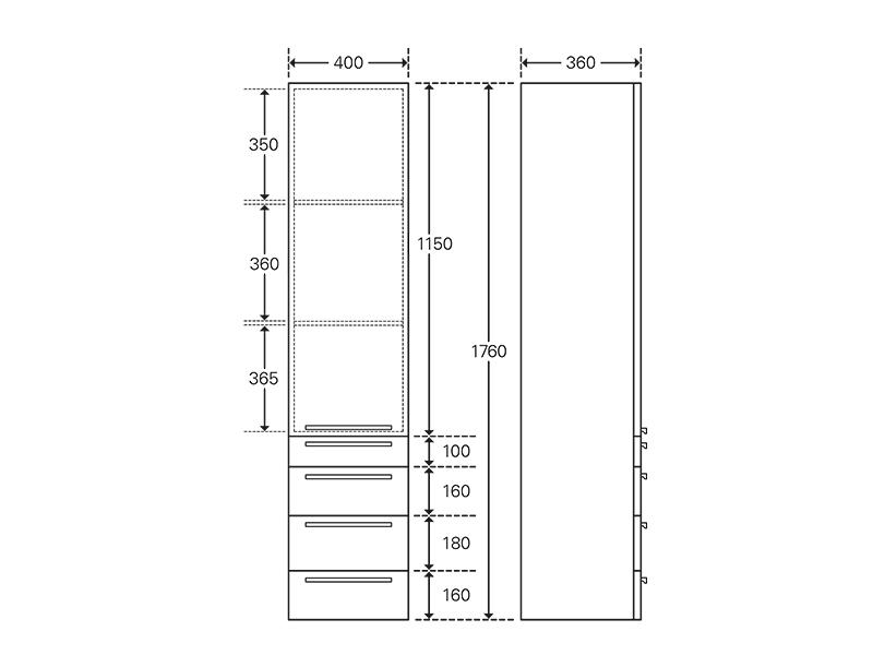 Treos Seitenschrank mit Türanschlag rechts, wood, 400x360x1760 mm