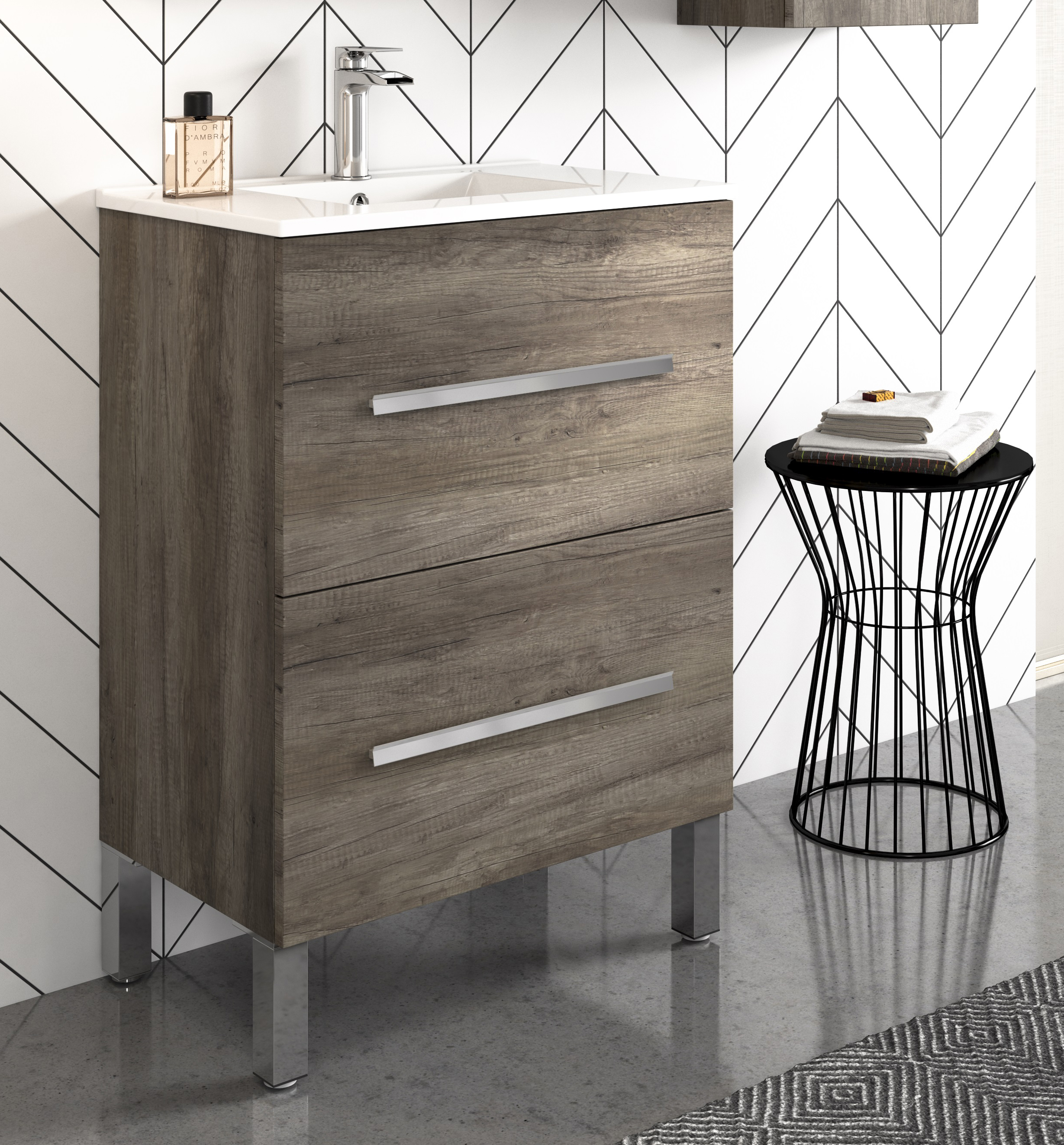 Thielsch Badmöbel Element 60 R inkl. Waschtisch Weiß Glanzlackiert