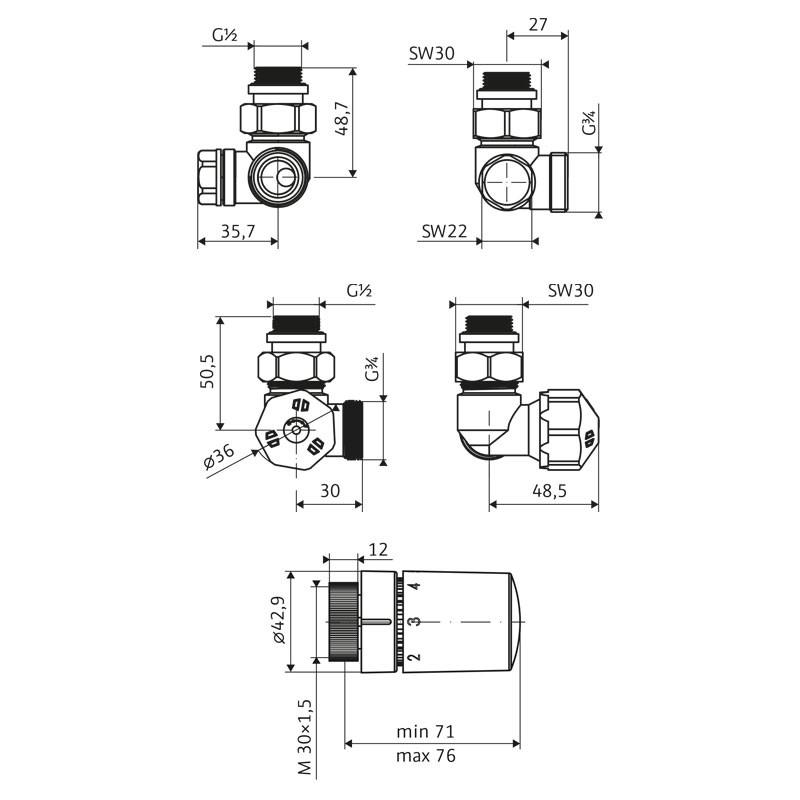HSK Seitenanschluss Wand Ventil-Set Winkel-Eck - Version Links
