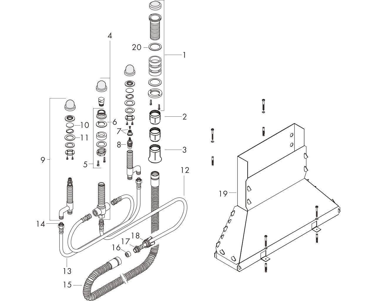HG Grundkörper 4-Loch Wannenarmatur für Wannenrandmontage mit Secuflexbox
