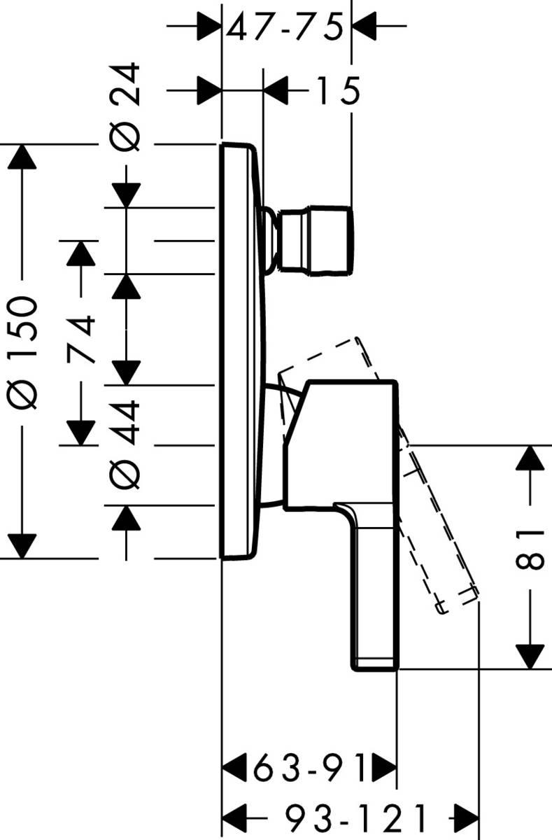 hansgrohe Metris S Einhebel-Wannenmischer Unterputz inklusive Grundkörper