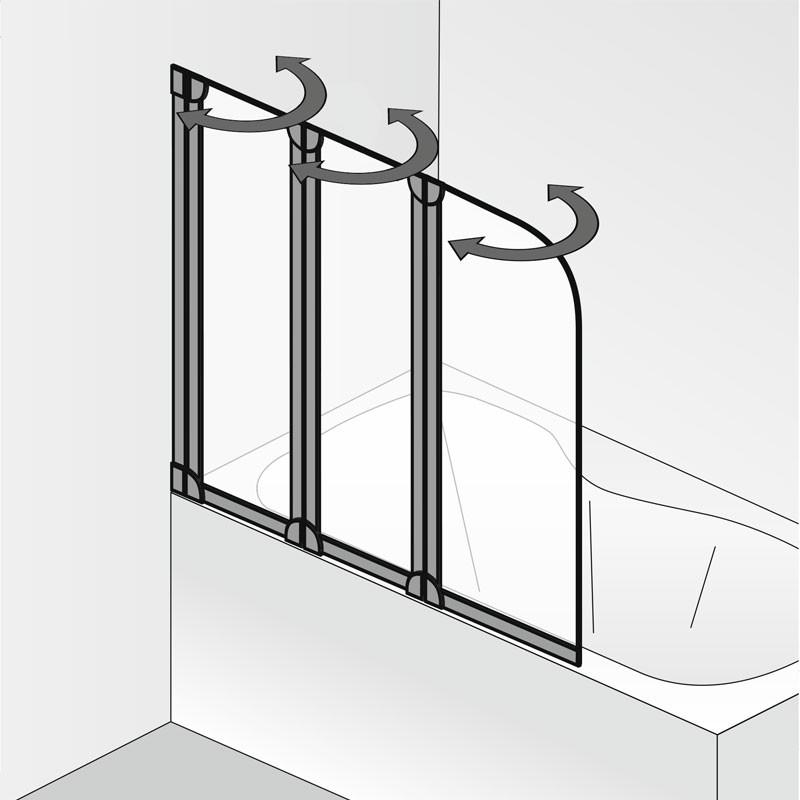 HSK Favorit Badewannenaufsatz, 3-teilig Links Alu Silber-Matt Carré ohne Beschichtung exkl. Aufmaßservice