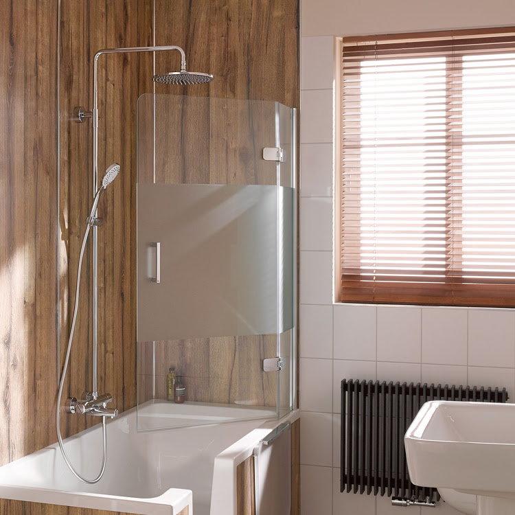HSK Premium Softcube Badewannenaufsatz, pendelbar, 2-teilig - 1000 mm Rechts inkl. Aufmaßservice ohne Beschichtung Chromoptik Grau mit Stangengriff