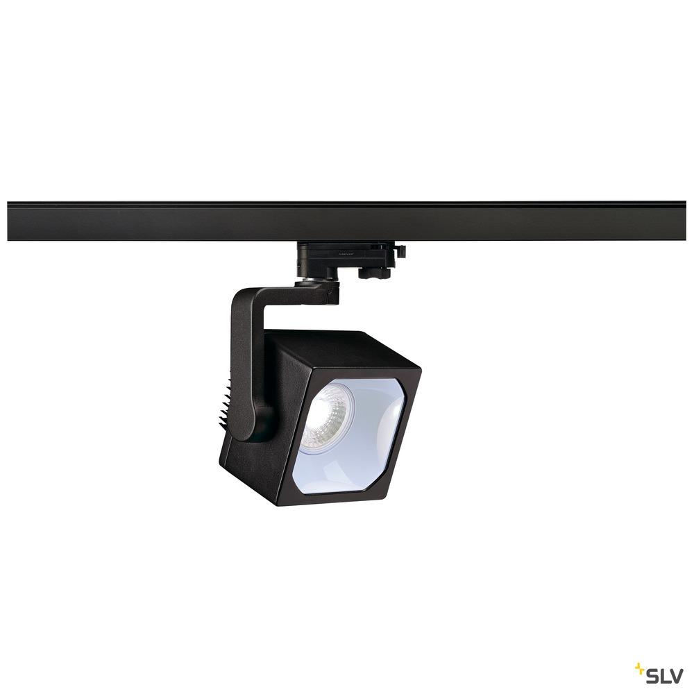 EURO CUBE, Spot für Hochvolt-Stromschiene 3Phasen, LED, 4000K, schwarz, 90°, inkl. 3Phasen-Adapter