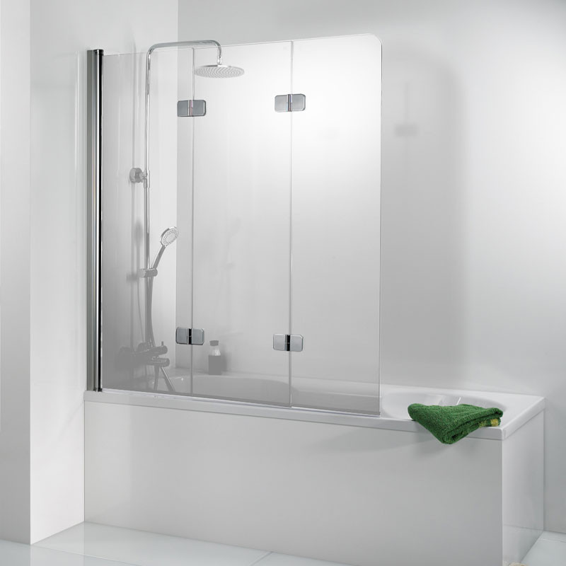HSK Premium Softcube Badewannenaufsatz, 3-teilig Links exkl. Aufmaßservice mit Beschichtung Alu Silber-Matt Carré