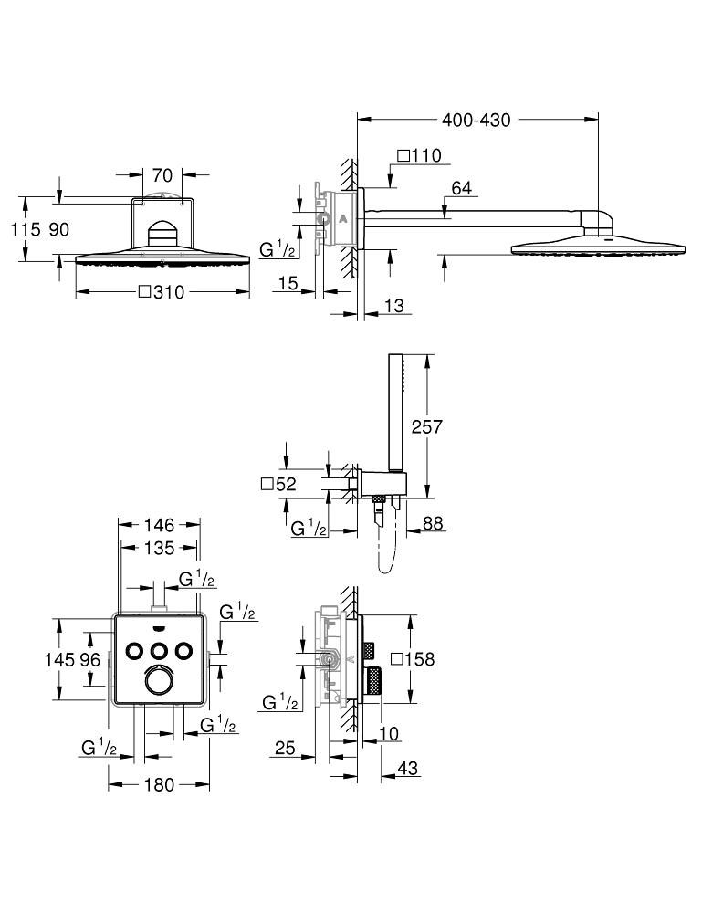 GROHE SmartControl Duschsystem Unterputz eckig