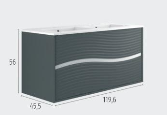 Thielsch Badmöbel Ondas 120 inkl. Doppelwaschtisch Arcilla Mattlackiert