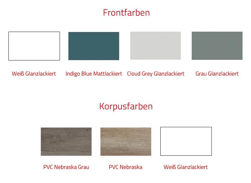 Thielsch Badmöbel Happy 100 Cloud Grey Glanzlackiert, PVC Nebraska Grau