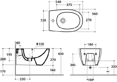 Thielsch Badkeramik Design Wand-Bidet