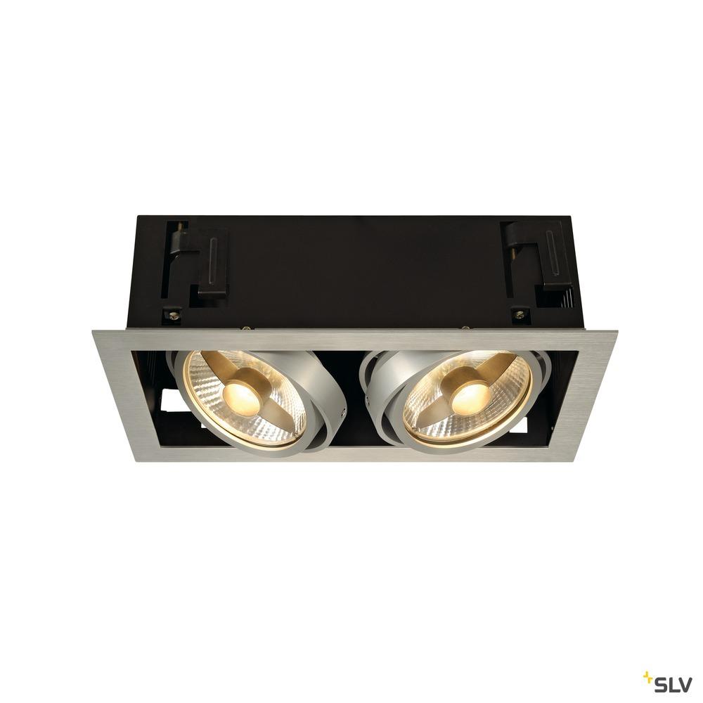 KADUX 2, Einbauleuchte, zweiflammig, QPAR111, rechteckig, aluminium gebürstet, max. 150W