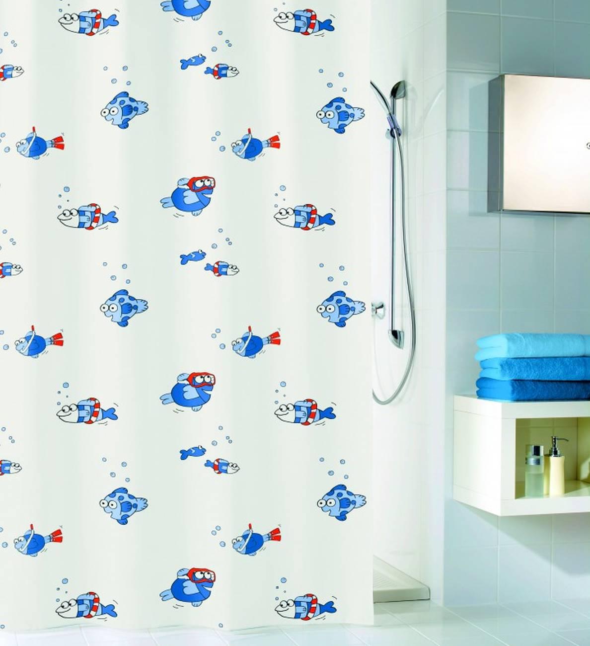 Duschvorhang Freddy PEVA Blau 180x200 cm