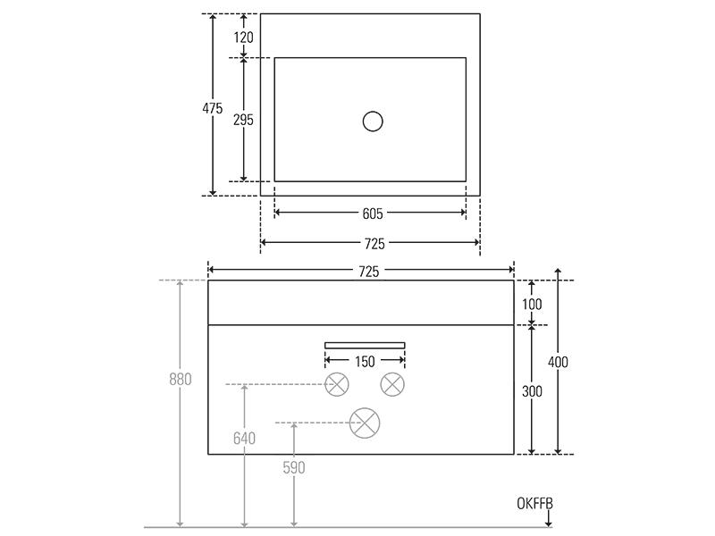 Treos Badmöbel ohne Hahnloch, weiss, 725x475x400 mm