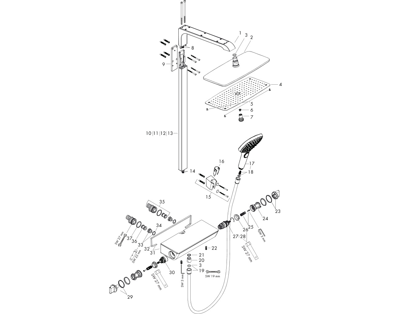 HG Showerpipe Raindance Select we./chrom