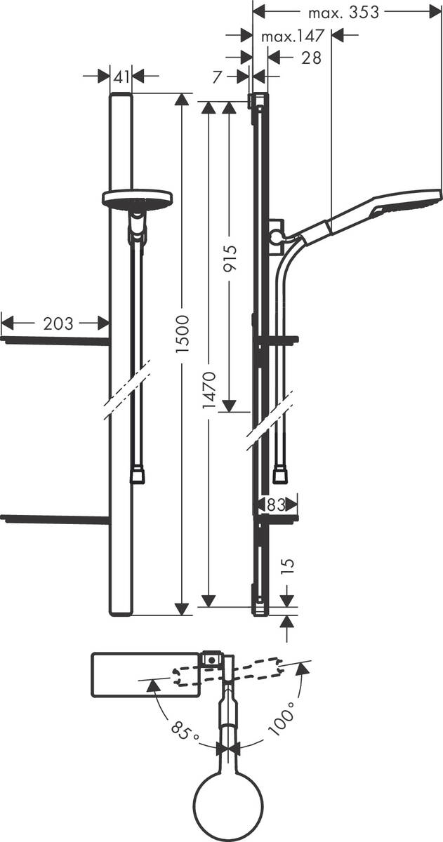 HG Brausenset Raindance Select S 120 Unica'E 1500mm weiss/chrom