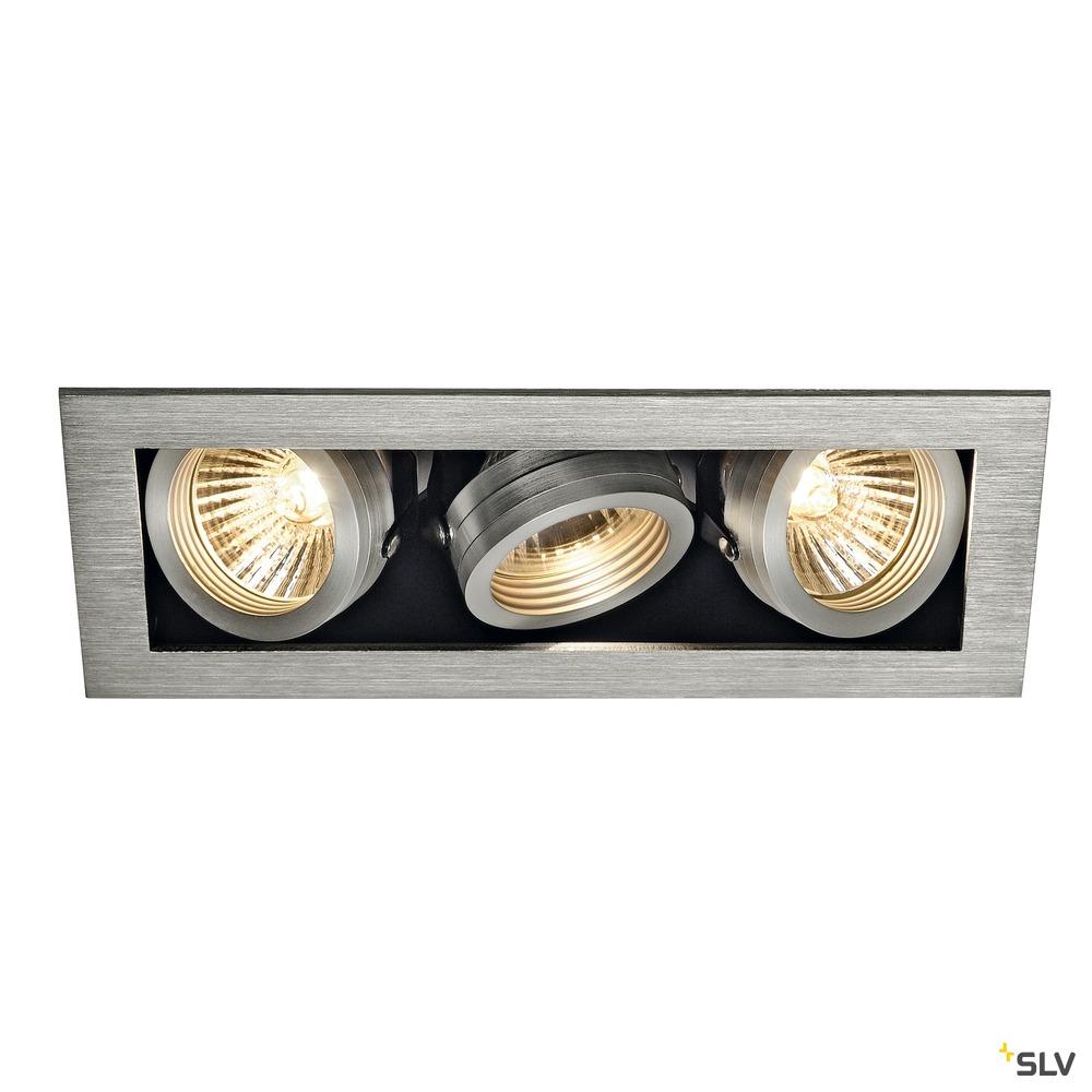 KADUX 3, Einbauleuchte, dreiflammig, QPAR51, rechteckig, aluminium gebürstet, max. 150W, inkl. Clipfedern