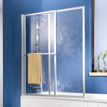 HSK Favorit Badewannenaufsatz Schiebeelement inkl. Handtuchhalter Rechts inkl. Aufmaßservice mit Beschichtung Weiß