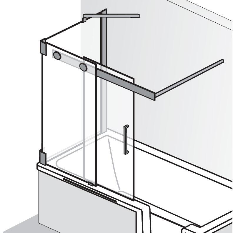HSK Badewannenaufsatz K2P Schiebetür, 2-teilig + Seitenwand - 940 mm Rechts exkl. Aufmaßservice Grau