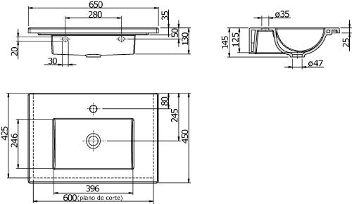 Thielsch Badkeramik Design-Waschtisch