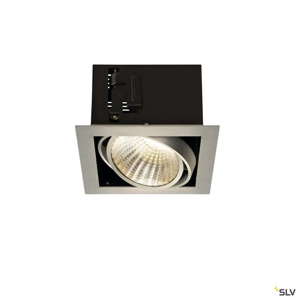 KADUX 1 SET, Einbauleuchte, einflammig, LED, 3000K, xl, eckig, aluminium gebürstet, 30°, 29W, inkl. Treiber, Clipfedern