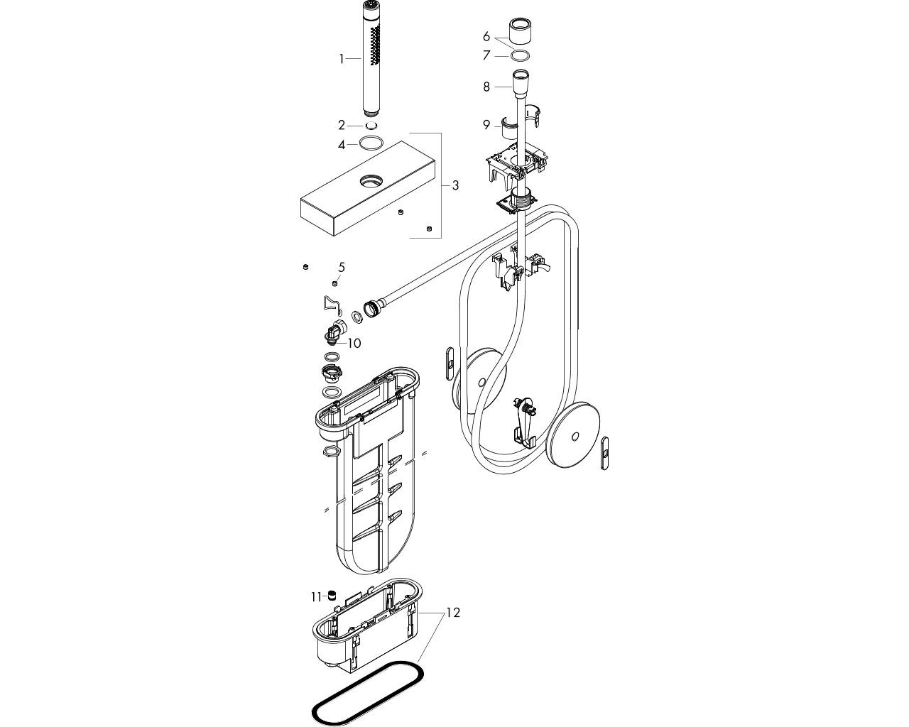 HG Wannenrandset Axor Edge mit sBox und Handbrause chrom
