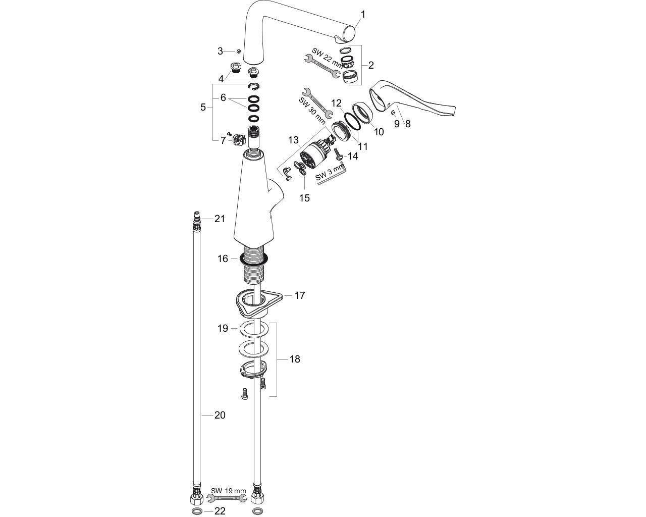 HG Spültischmischer 320 Metris M71 1jet edelstahl-optik