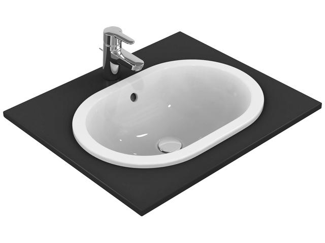 IS Einbauwaschtisch Connect oval o.Hl. m.Ül. 620x410x175mm Weiß