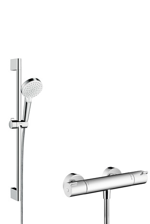 HG Brausenkombi Crometta Vario/ Ecostat 1001 CL/Unica 650mm weiss/chrom