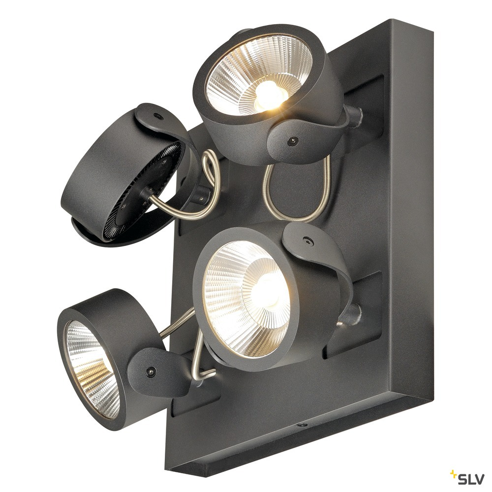 KALU, Wand- und Deckenleuchte,  vierflammig, LED, 3000K, viereckig, schwarz, 60°
