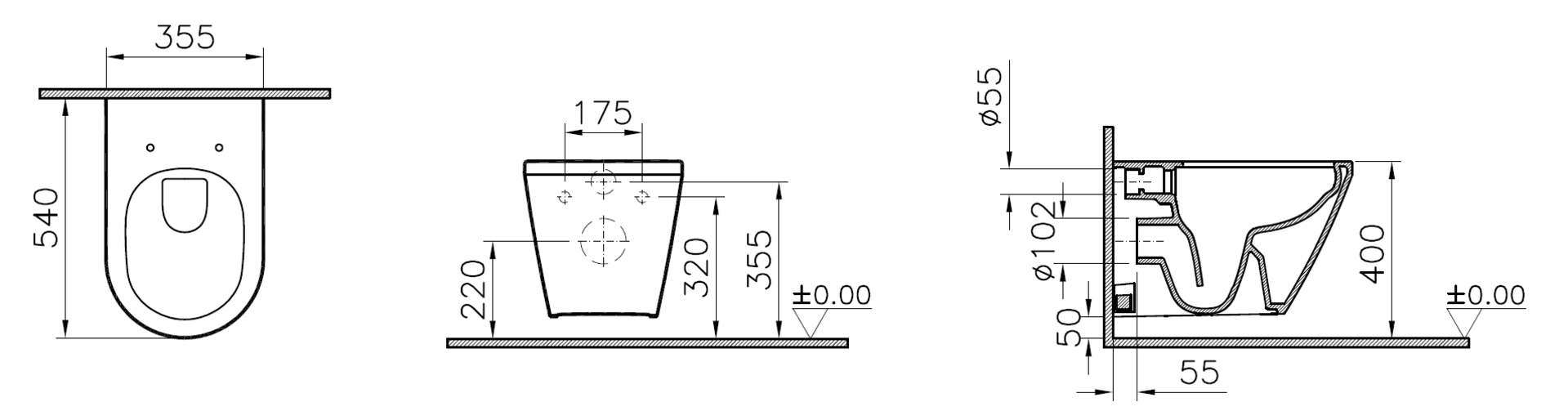 DIANA S100 Tiefspül spülrandloses Wand WC