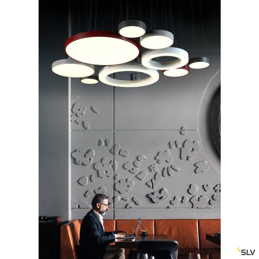 MEDO 40, Deckenleuchte, LED, 3000K, rund, weinrot, Ø 38 cm, zur Pendelleuchte umrüstbar, 31 W weiß