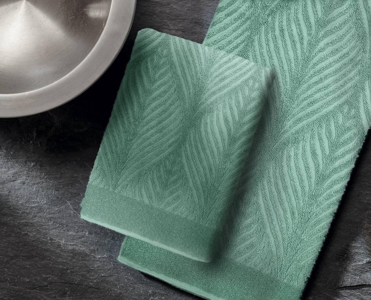 Duschtuch Leaf 100 % Baumwolle Schneeweiss 70x140 cm