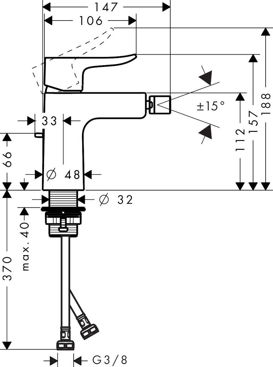 HG Bidetmischer Metris chrom