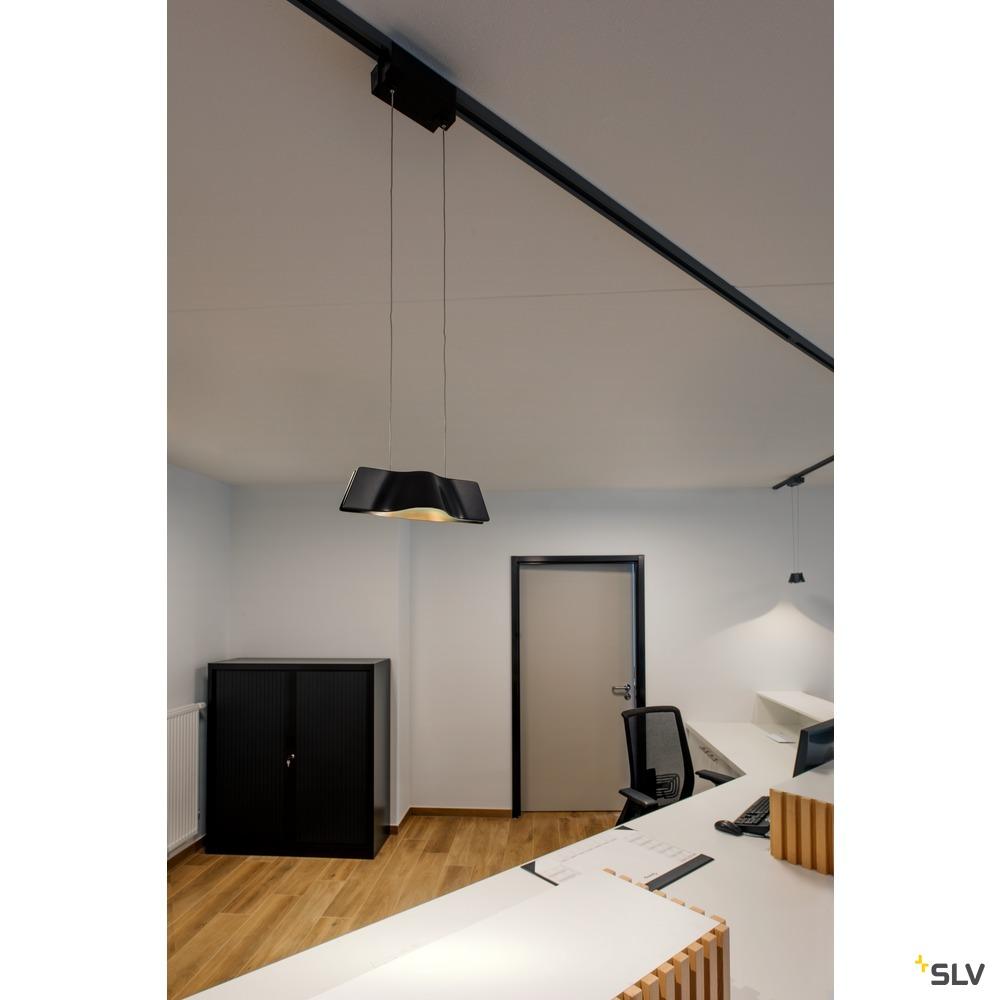 WAVE PENDANT, Pendelleuchte  für Hochvolt-Stromschiene 1Phasen, LED, 3000K, aluminium gebürstet, 9W, inkl. 1Phasen-Adapter
