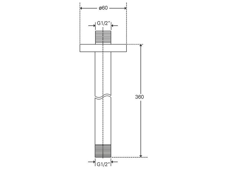 Treos Brausearm 360 f. Deckenmontage Serie 190