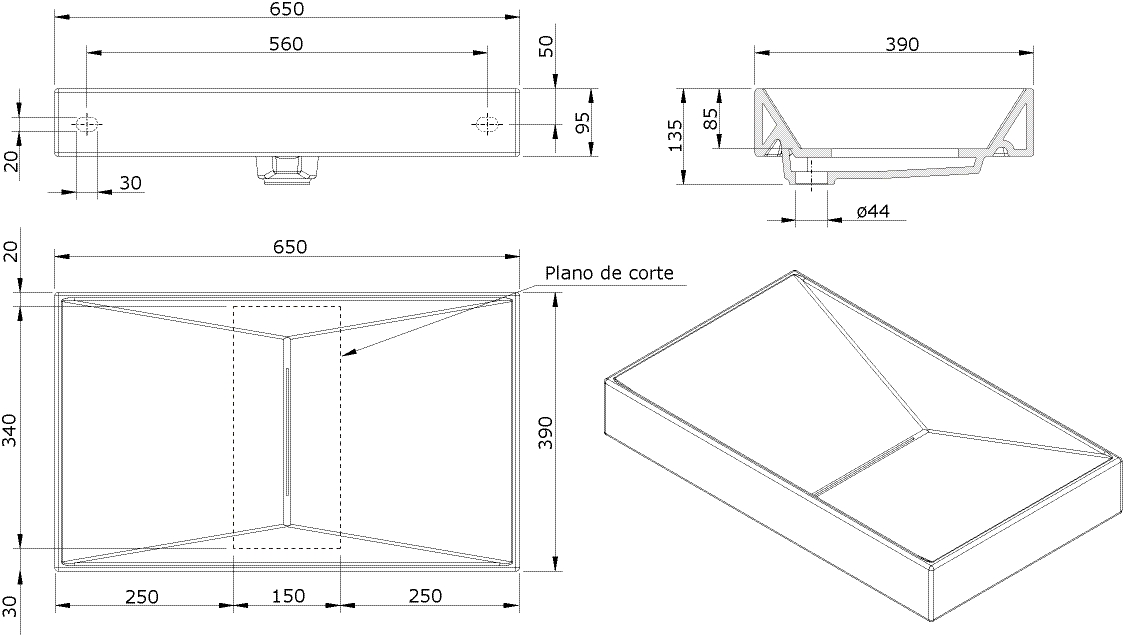 Thielsch Badkeramik Design-Waschtisch exkl. Hahnbank & Hahnloch