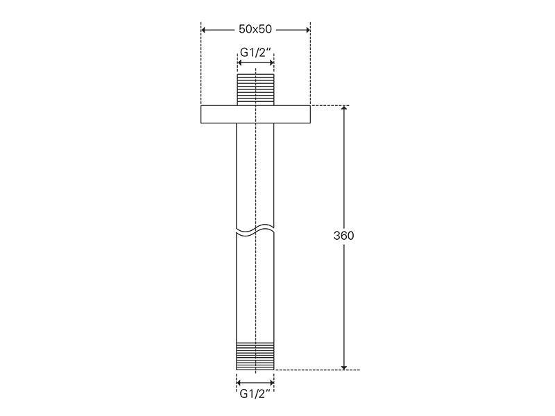 Treos Brausearm für Deckenmontage Serie 175