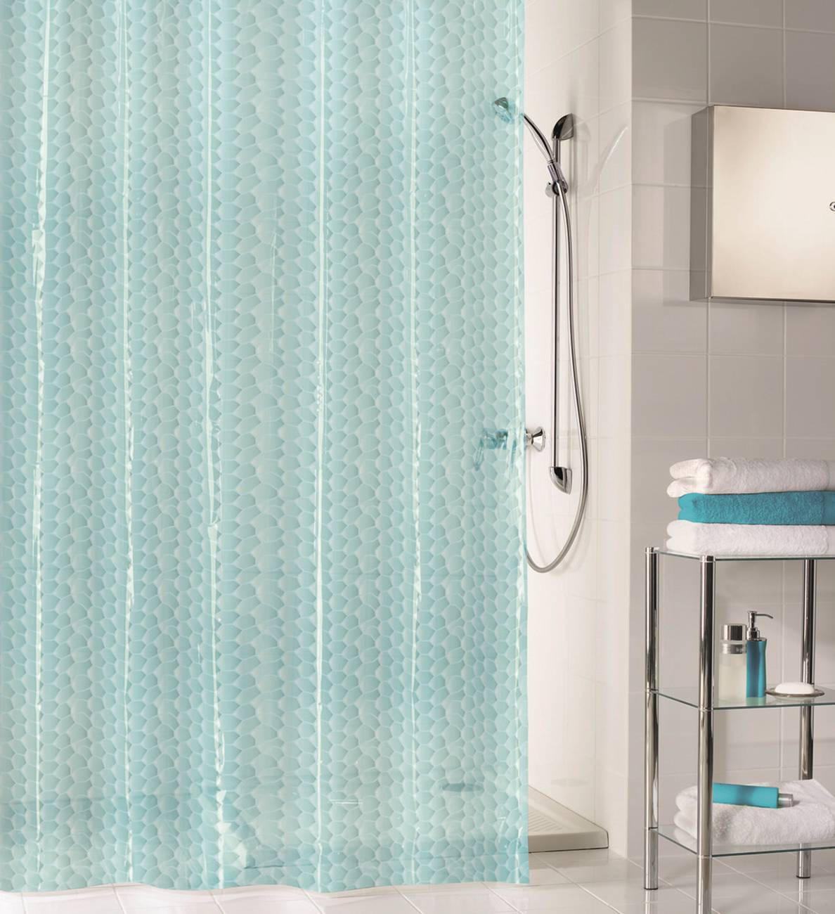 Duschvorhang Soapy PEVA Wasserblau 180x200 cm