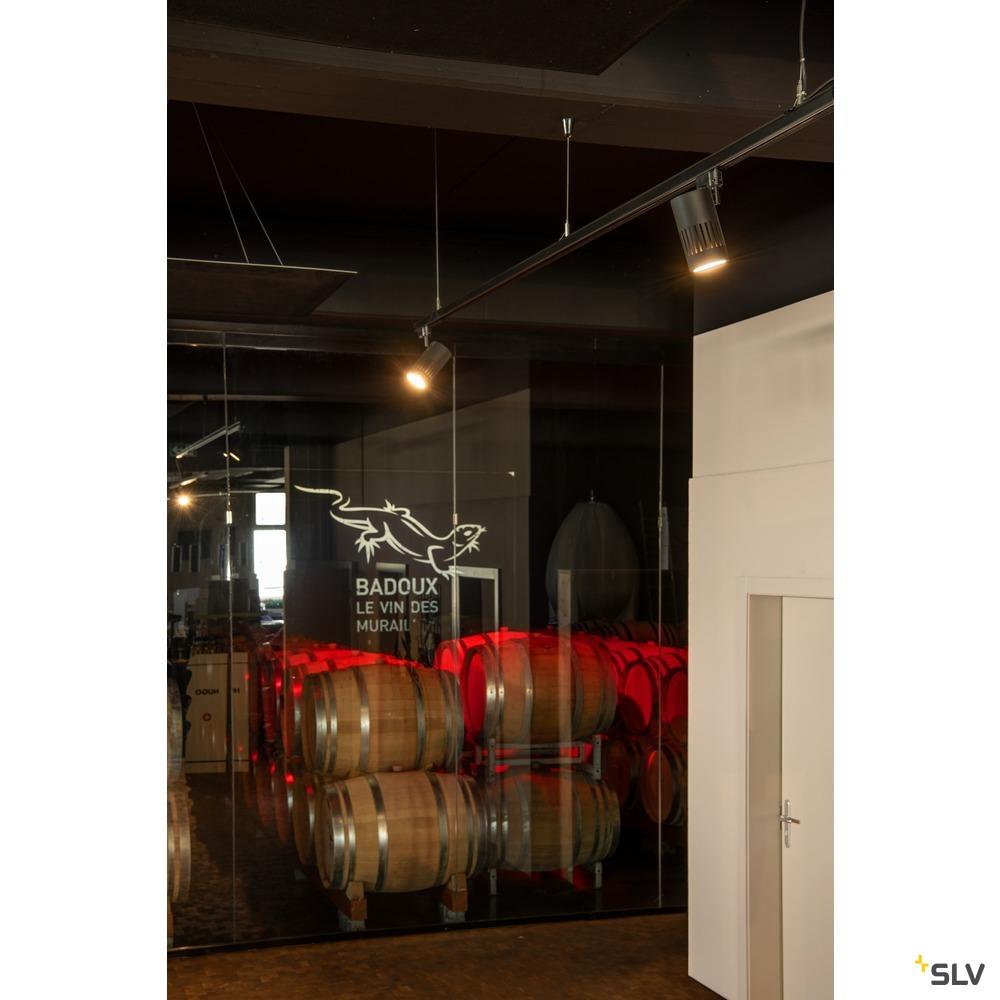STRUCTEC, Strahler für 3Phasen Hochvolt-Stromschiene, 24W, LED, 4000K, 60°, schwarz, inkl. 3 Phasen Adapter
