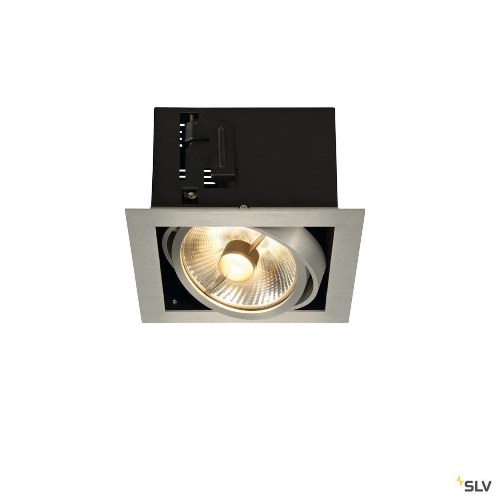 KADUX 1, Einbauleuchte, einflammig, QPAR111, eckig, aluminium gebürstet, max. 75W