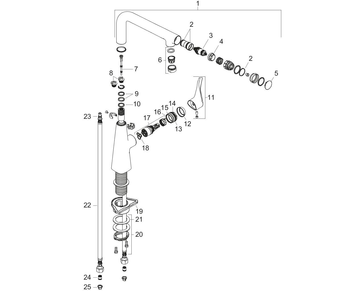 HG Spültischmischer 260 Metris Select M71 1jet chrom