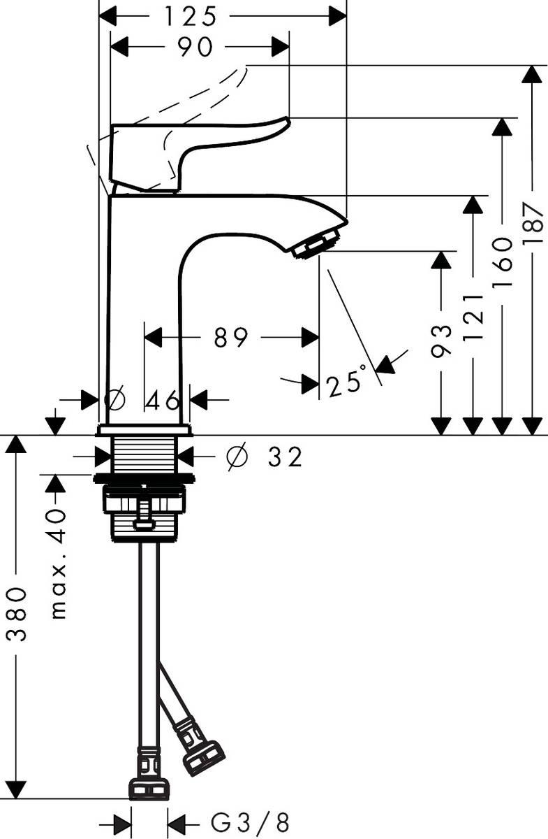 HG Waschtischmischer 100 Metris für Handwaschbecken ohne Ablaufgarnitur chrom