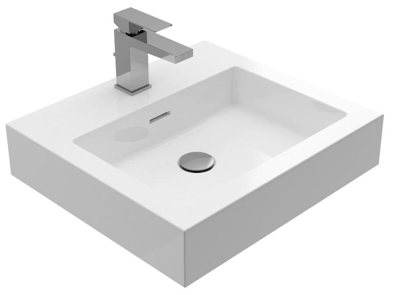 Treos Mineralguss Waschbecken mit Hahnloch 500x450 mm