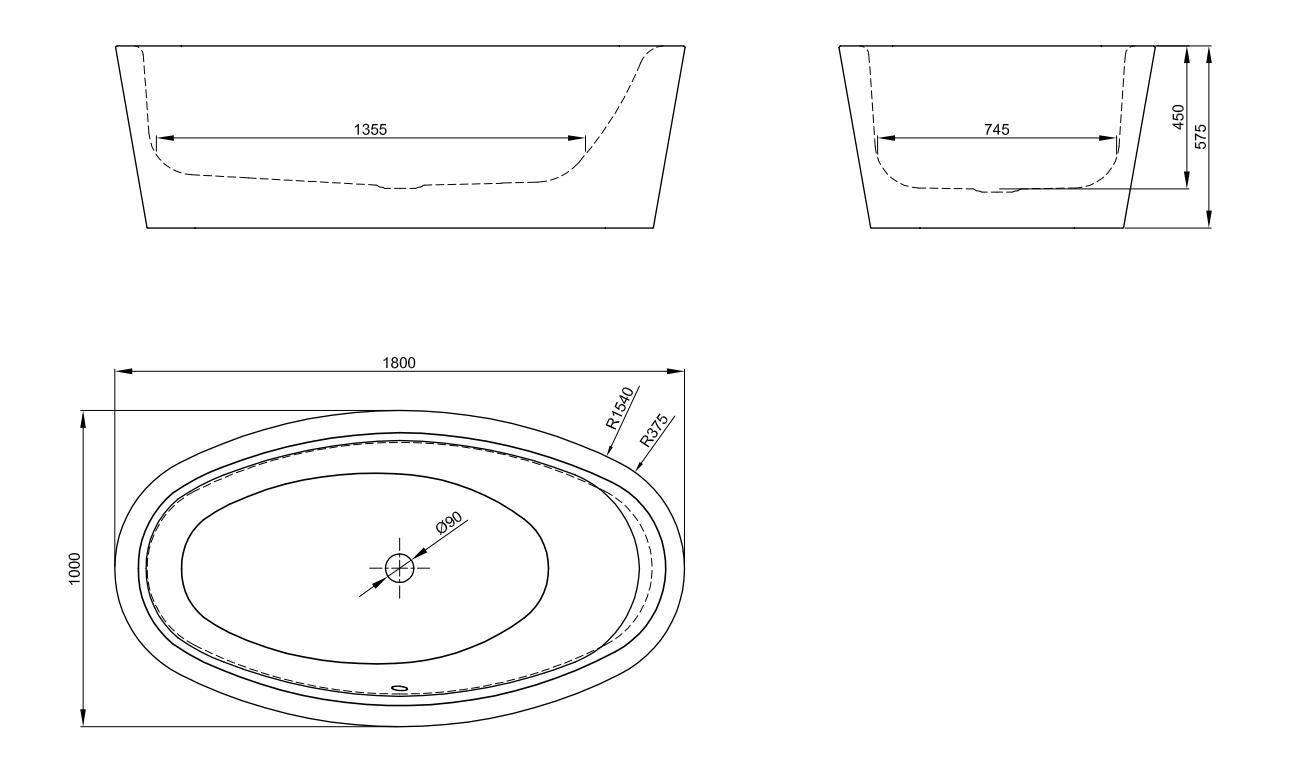 Bette Home Oval Silhouette - 1800×1000 mm Pergamon (001) inkl. Antirutsch